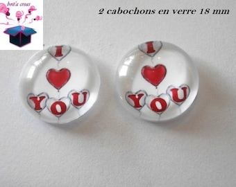 2 glass cabochons domed 18mm love theme