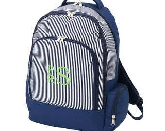 Monogrammed Navy Pinstripe  Backpack