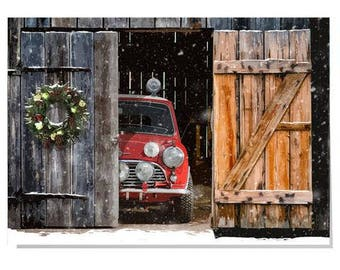 Mini Cooper Christmas card for car lovers,for him,classic cars