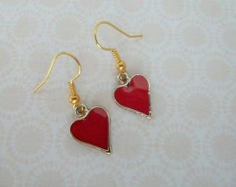 gold plated red enamel heart charm earrings, UK jewellery