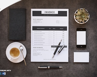 Photographer Invoice template | Invoice design | Receipt template | Editable Photoshop and MS Word Template | Instant Download