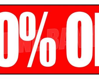 50% Off Sale Banner Sign Fifty Percent Off Sale Holiday Shop Season Rebate 14oz Vinyl Flag -- MULTIPLE SIZES