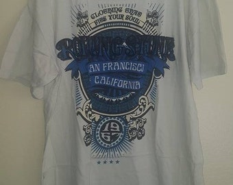 Rolling Stone Magazine Blue Logo T-Shirt with Velvety Lettering