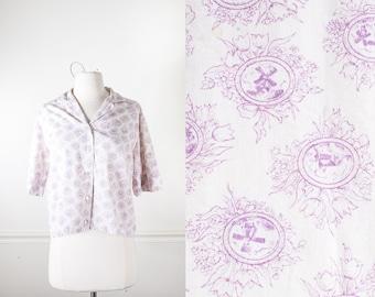 60s Blouse, Button Down Shirt, 60s Top, 60s Shirt, Novelty Print Blouse, 60s Clothing, Boho Top, Retro Blouse, White Shirt, Lavender Shirt