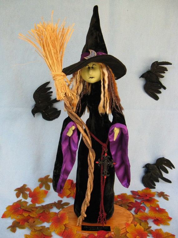 Luna - Mailed Cloth Doll Pattern  A Beautiful yet Scary Halloween Free Standing Stump Doll Witch Pattern