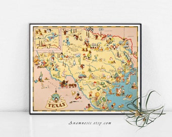 TEXAS MAP - Enhanced High Res Digital Image Download - printable retro picture map for framing, totes, pillows & cards - vintage wedding art