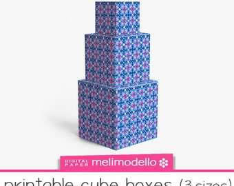 "Small Printable cube shape boxes ""bastienne"", 3 sizes, download"