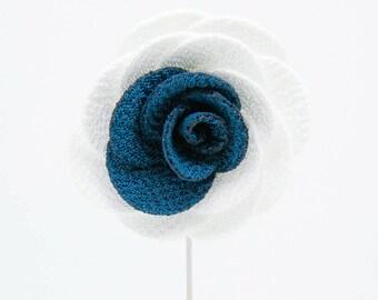 Alexandria White/Blue Flower Lapel Pin