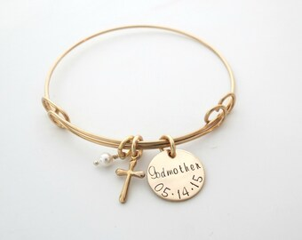 Personalized Gold Cross Bracelet - Custom Godmother Gift - Personalized Jewelry - First Communion - Baptism - Baby Dedication - Godchild