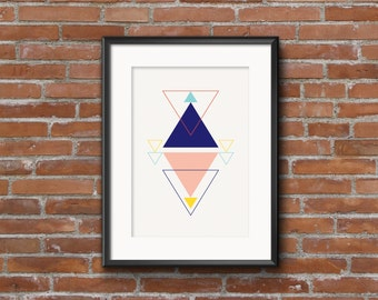 "Minimalist Triangle Poster, Geometric Printable Poster, Abstract Art Print, Digital Poster, Instant download, Pink Blue Print, ""PAPAYA II"""