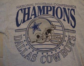 Vintage 90's NFL Dallas Cowboys Football NFC Champions Sports Fan Gray T Shirt Size M