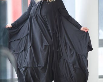 Plus Size Clothing, Plus Size Maxi Dress, Goth Dress, Kimono Dress, Oversized Dress, Long Black Dress, Maternity Clothing, Steampunk Dress