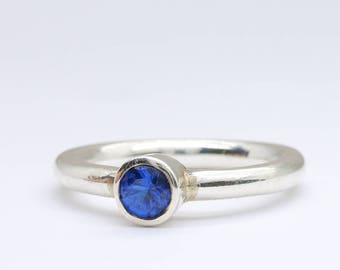 Vintage sterling silver and blue spinel solitaire ring, silver solitaire ring, gemstone ring, blue gemstone, engagement ring, promise ring