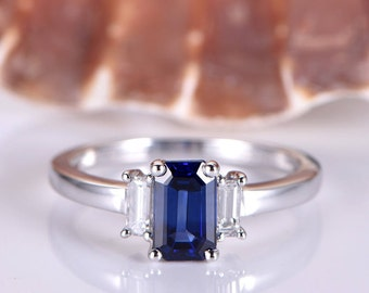 Blue Sapphire Engagement Ring 4x6mm Emerald Cut Lab Created Sapphire Emerald Cut Moissanite Wedding Band 14k White Gold Band Birthstone Ring