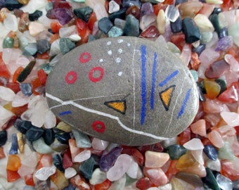 Paperweight Abstract minimal shapes stone handpainted