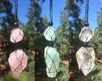 Rose Quartz, Aquamarine and Clear Quartz Macrame Necklace