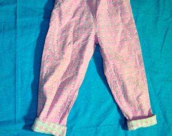 Vintage Childrens Girls Osh Kosh B Gosh Pink Tulip Print Pants - Childrens Clothing - Size 3T