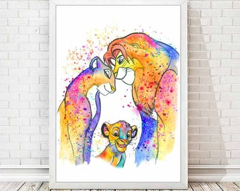 Simba and Nala Watercolor Print The Lion King Watercolor Print Disney Poster Nursery Art Painting Children Room Love Decor Wedding Gift A07