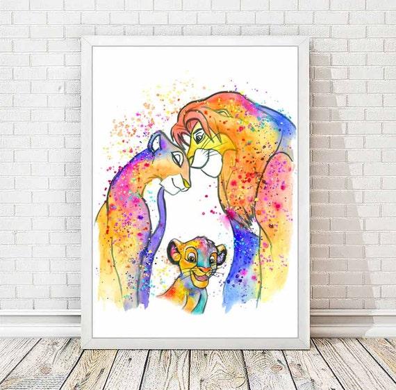 Simba And Nala Watercolor Print The Lion King Watercolor Print