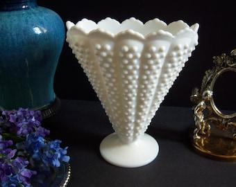 Fenton Hobnail Milk Glass Vase - Milk Glass Fan Vase -  Fenton Hobnail Fan Vase - Fenton Crown Top Hobnail White Milk Glass Fan Vase