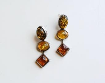 1980s genuine amber and silver three piece dangle earrings / 80s vintage green gold orange amber geometric shapes drop pierced earrings