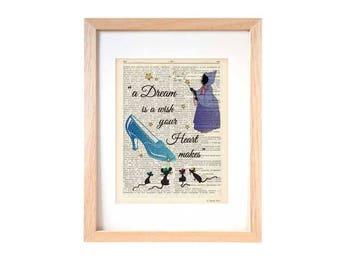 Fairy godmother print-Cinderella print-nursery print-Cinderella book art-fairy godmother-children wall art-cinderella-by NATURA PICTA-DP195