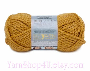 GOLDENROD Wool Blend Super Bulky Yarn. 50/ 50% Wool/ Acrylic Blend. All Things You. Mustard color. 4.5oz 90yds Size 6. Acrylic Blend yarn