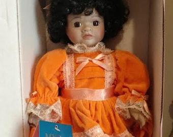 "RARE 16"" Porcelain Doll ""Dorothy"" by  MARIAN YU Designs, Black  Doll"