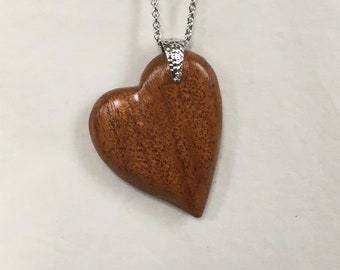 Wood Heart Pendant, Personalized Necklace, Personalized Jewelry, Mothers Day Gift, Wood Jewelry, Wood Necklace, Wooden Pendant