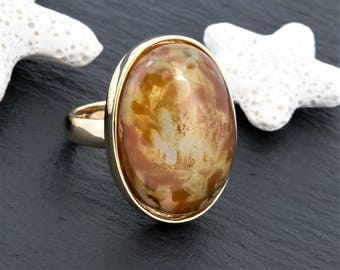 925 Sterling Silver Ring, Oval Cabochon Ring, Gold Filled Ring, Statement Ring, Chunky Ring, Gift For Her, Birthday Gift, Christmas Gift