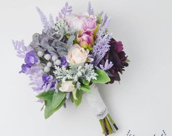 Boho Wedding Bouquet, Bridal Bouquet, Wedding Bouquet, Boho Wedding, Purple Bouquet, Wildflower Bouquet, Peony, Dusty Miller, Lavender, Boho