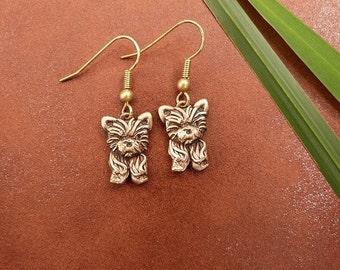 Bronze Yorkie Puppy Earrings