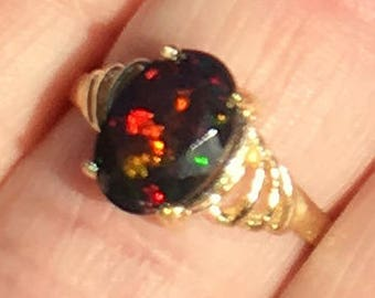 Solid 10k Yellow Gold Ring, Black Welo Opal Ring, Color Play, Green, Orange, Yellow Fire, Promise Ring, Engagement Ring, Ethiopian Opal