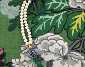 Blue and White Chinoiserie Beaded Tassel Necklace - GREEN, emerald green, long, statement, Asian, delft, chunky, white