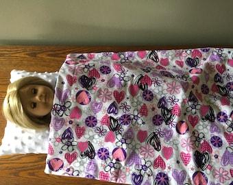 18 inch doll blanket with pretty hearts. Pretty doll blanket with pink and purple  Hearts