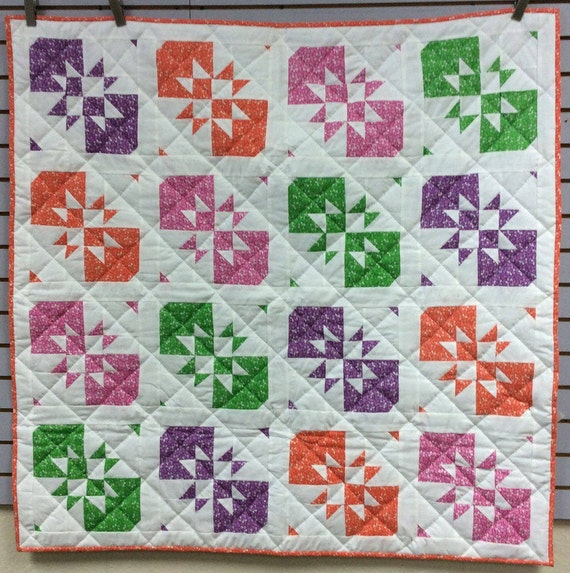 Disapearing Hour Glass Quilt Colorful Quilt