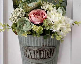 Wall hanging farmhouse floral arrangement, garden decor, pink and blue country roses, white hydrangea, baby breath, eucalyptus, girls room