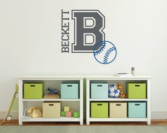 Personalized name wall decals, Baseball wall decals, Monogram stickers, Wall letters, Baseball decor, Sports decals, Baseball stickers DB383