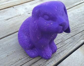 Deep Purple Ceramic Bunny Statue, Shabby Chic, Cottage Chic, Distressed Rabbit Statue