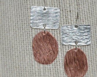 Hammered Silver and Copper Earrings