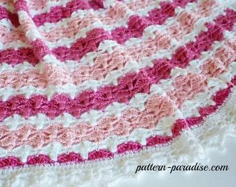 Crochet Pattern Baby Blanket Afghan Throw Jasmine PDF 15-212