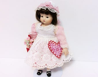 """Small Bisque Doll looks like """"Just Me"""" Doll with Handmade Valentine and Flower Bouquet"""