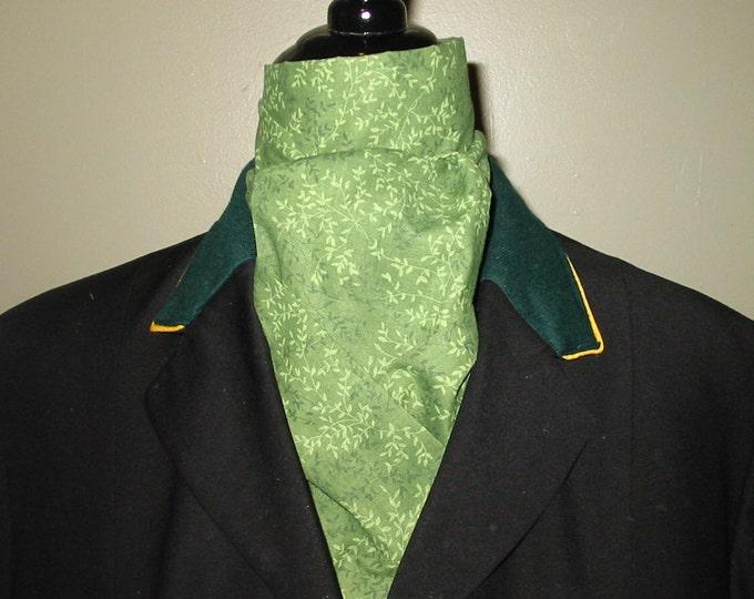 Medium Green with Light Green Vines 2 -Fold Stock Tie