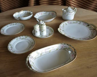 3 Nippon china Hand Painted Pattern Gold Trim Salad Plates