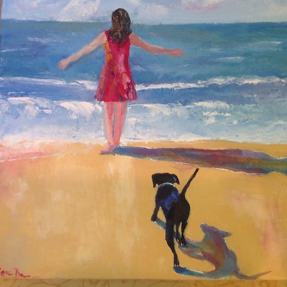 Seascape, Ocean Painting, Dog Art, Small Art, Rainbow, Child Art