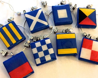 Nautical Wine Charms - Custom Maritime Signal Flags
