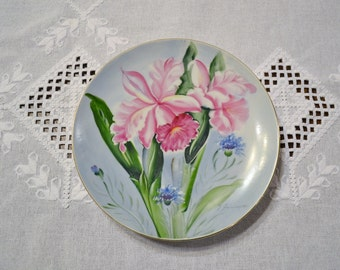 Vintage Ucagco Plate orchid Lily Floral Scene Hand Painted Signed Pink Green PanchosPorch