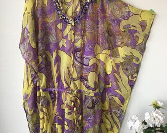 Bohemian Kaftan Dress Gypsy Kimono Dress Boho Embellished Clothing Resort Wear beach Cover up Lounge wear Purple yellow Paisley pattern