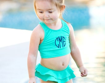 Monogrammed Girls Bikini Swimsuit Ruffle Toddler Swim Bathing