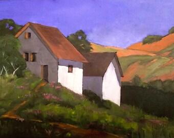 Farm Barn Painting Impressionist 18 x 24 CALIFORNIA Plein Air Skyline Drive Santa Cruz Landscape Art Lynne French